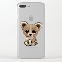 Cute Baby Bear With Football Soccer Ball Clear iPhone Case