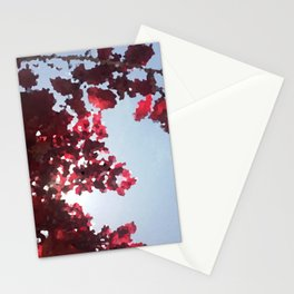 Tree with red leaves Stationery Cards