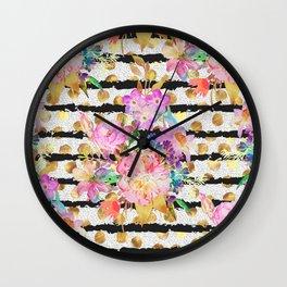 Elegant spring flowers and stripes design Wall Clock