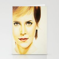 emma watson Stationery Cards featuring Cropped Emma Watson by Taylor Hayes