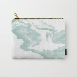 Moki - spilled ink japanese printmaking marble paper mint pastel watercolor painting abstract  Carry-All Pouch