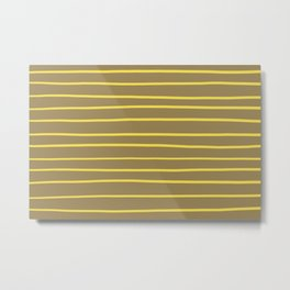 Yellow and Brown Minimal Stripe Pattern 2021 Color Of The Year Illuminating & Fennel Seed Metal Print