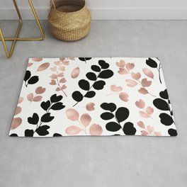 Botanical modern black rose gold foil foliage  Rug