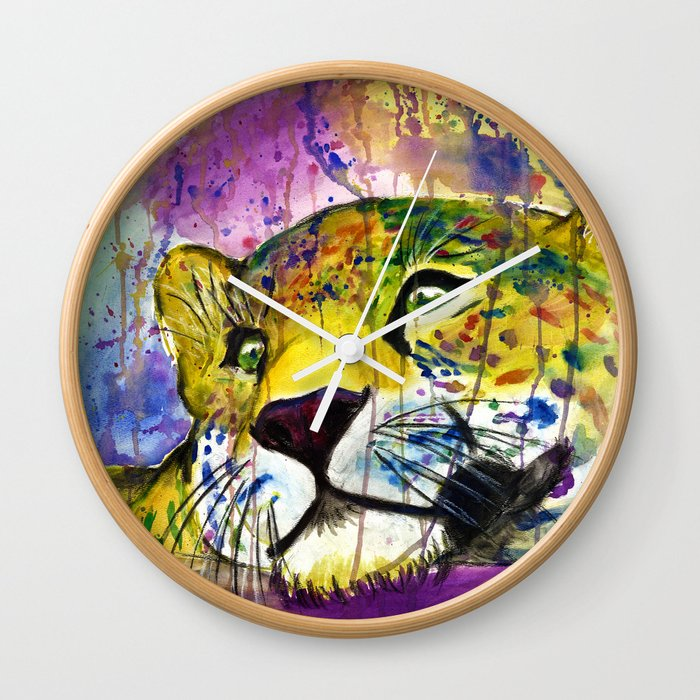 Daydreaming Leopard Wall Clock