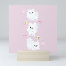 kawaii samoyed Mini Art Print