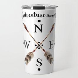 Cardinal directions Compass Arrows Adventure awaits Typography Travel Mug