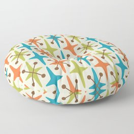 Mid Century Modern Abstract Star Pattern 441 Orange Brown Turquoise Chartreuse Floor Pillow