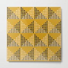 Layered Geometric Block Print in Mustard Metal Print