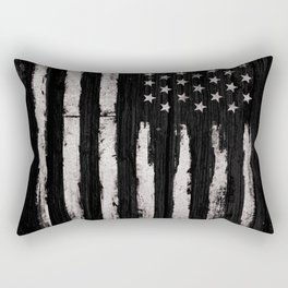 White Grunge American flag Rectangular Pillow