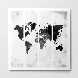 World map in pieces Metal Print