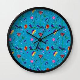 Flowers at Dusk, original art, repeated Wall Clock
