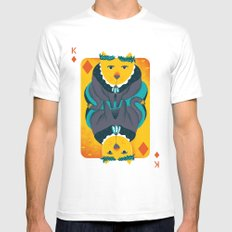 Cat the King of Diamonds White MEDIUM Mens Fitted Tee