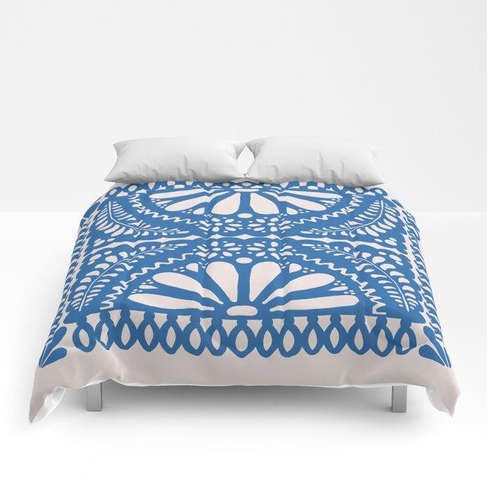 Fiesta de Flores Blue Comforters