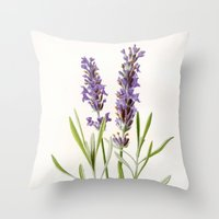 lavender Throw Pillows featuring Lavender by 83 Oranges™