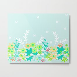 Turquoise floral pattern . Colorful floral background . Metal Print