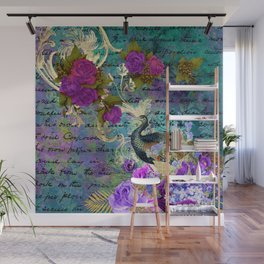 Elegant and Luxurious Colorful Peacock Art Print Wall Mural
