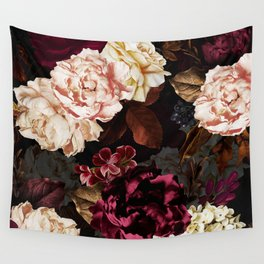 Vintage & Shabby Chic - Midnight Rose and Peony Garden Wall Tapestry
