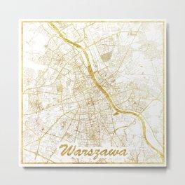 Warszawa Map Gold Metal Print