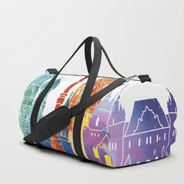 Moscow landmarks watercolor poster Duffle Bag