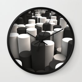 Pattern of black and white cylinders Wall Clock