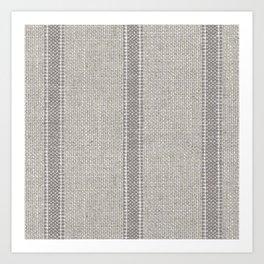 Vintage farmhouse Grain sack Stripes linen Art Print