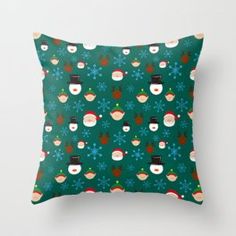 Christmas Four with Snowflakes Throw Pillow