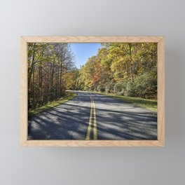 The road curves on the Blue Ridge Parkway near Foscoe North Carolina Framed Mini Art Print