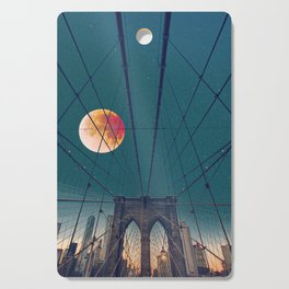 Blood Moon over the Brooklyn Bridge and New York City Cutting Board