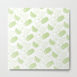 Hand painted mint green floral cactus tropical leaves typo Metal Print
