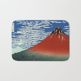 "Hokusai (1760–1849) ""Fuji, Mountains in clear Weather (South Wind, Clear Sky)(Red Fuji)"" Bath Mat"
