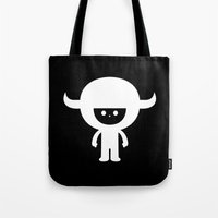 muppet Tote Bags featuring IDKF horny muppet mascot by simon oxley idokungfoo.com