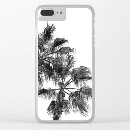 B&W Palm Tree Print | Black and White Summer Sky Beach Surfing Photography Art Clear iPhone Case