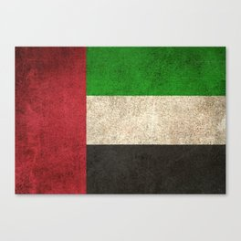 Old and Worn Distressed Vintage Flag of United Arab Emirates Canvas Print