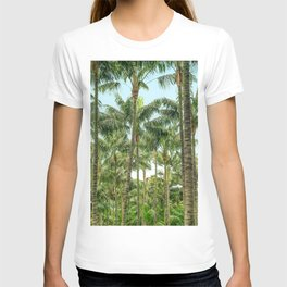 palm tree forest, coconut trees jungle background T-shirt