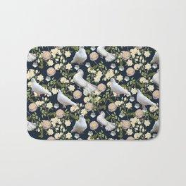 White Doves and Roses Bath Mat