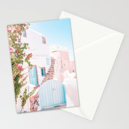 Santorini Greece Mamma Mia Pink House Travel Photography in hd. Stationery Cards