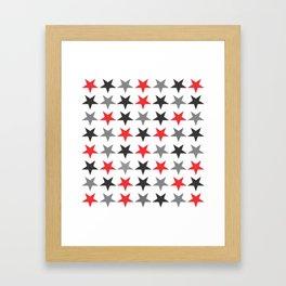 Black Grey Red Stars Framed Art Print