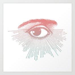 I See You. Pink Turquoise Gradient Sunburst Art Print