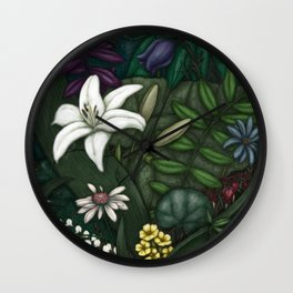 Flower Mask Wall Clock