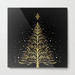 Christmas Night Tree-Glowing Metal Print