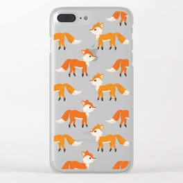 Cute Side View Fox Illustration with Brown Background Clear iPhone Case