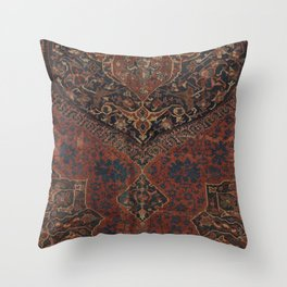 Boho Chic Dark VII // 17th Century Colorful Medallion Red Blue Green Brown Ornate Accent Rug Pattern Throw Pillow