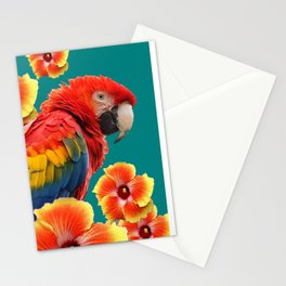 TEAL TROPICAL RED-YELLOW HIBISCUS FLOWERS & BLUE MACAW PARROT Stationery Cards