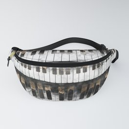 Piano keys and Notes - Watercolor and gold Fanny Pack