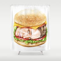burger Shower Curtains featuring Burger by Creadoorm