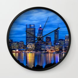 City Blues, Perth City, Western Australia Photographic Art Wall Clock