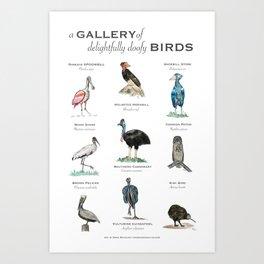 A Gallery of Delightfully Doofy Birds Art Print