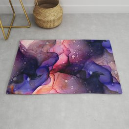 Dark Night Thunderstorm Flowing Abstract Painting Rug