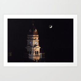 Crescent moon and earth shine at city hall clock tower Art Print