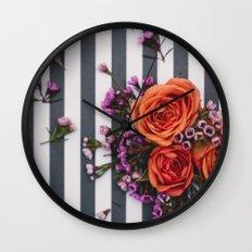Botanical Stripes  Wall Clock